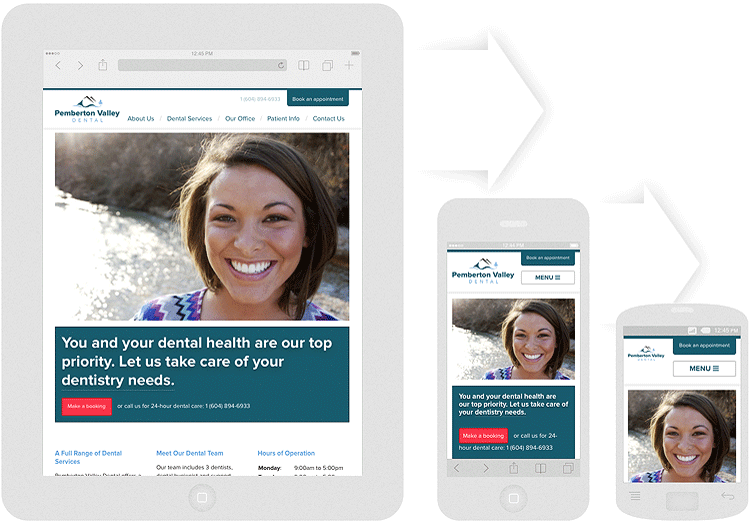 Responsive web design: Pemberton Valley Dental