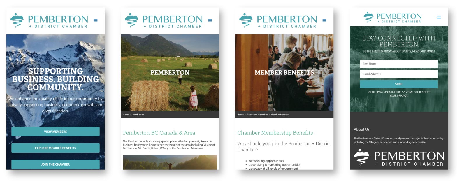 Pemberton Chamber of Commerce redesign mobile
