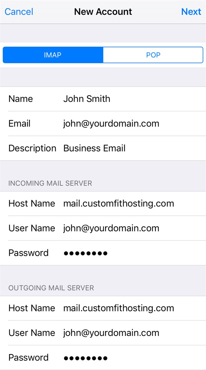 iOS Account Settings