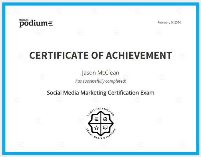 HootSuite Social Media Training Certificate Jason McClean