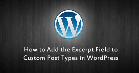 Wordpress - Add Excerpt Field to Custom Post Types