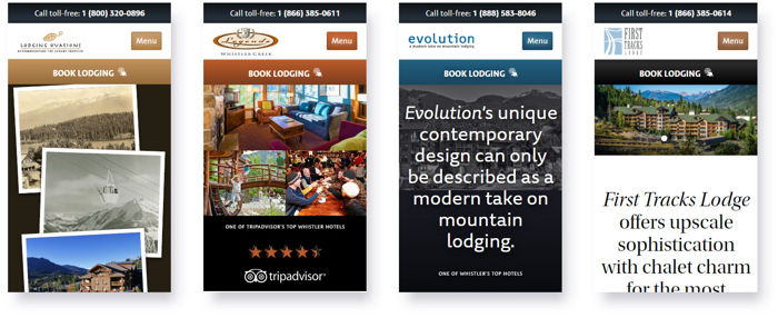 Lodging Ovations Website Mobile View