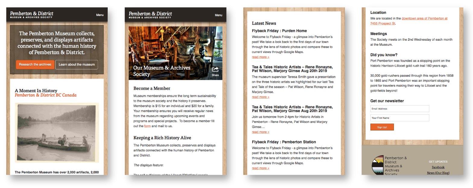 Pemberton Museum Website Profile