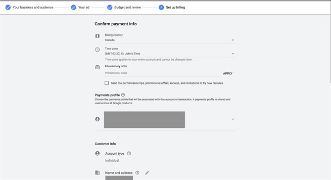 Google Ads 12 Review Confirm Payment Info